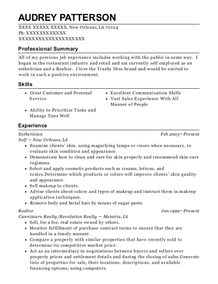 Esthetician resume sample Louisiana
