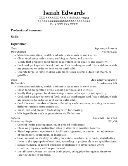 Cook resume template Louisiana
