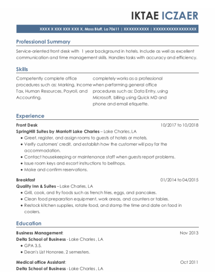 Front Desk resume template Louisiana