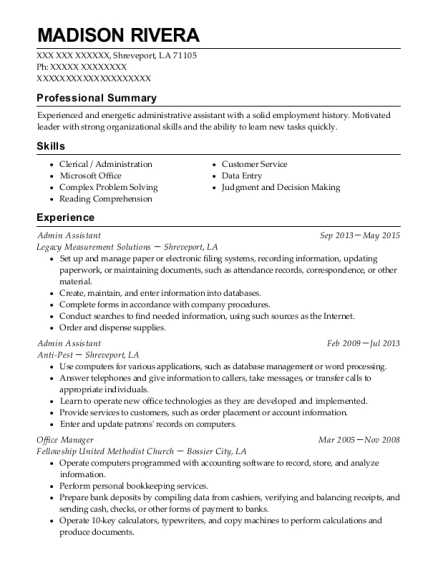 Admin Assistant resume example Louisiana
