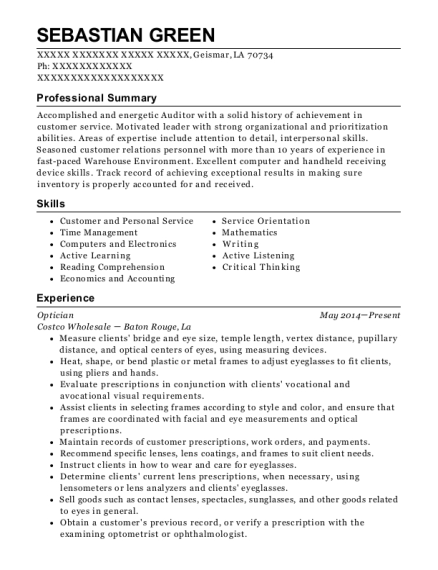 Optician resume example Louisiana