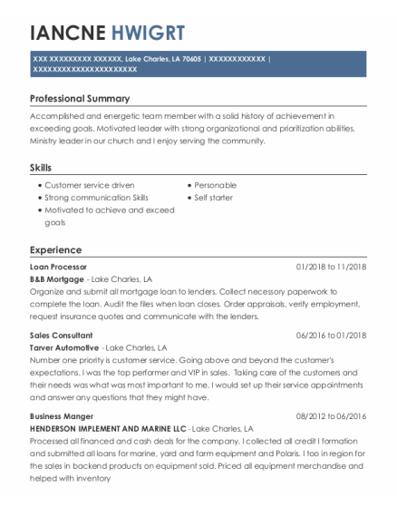 Loan Processor resume format Louisiana