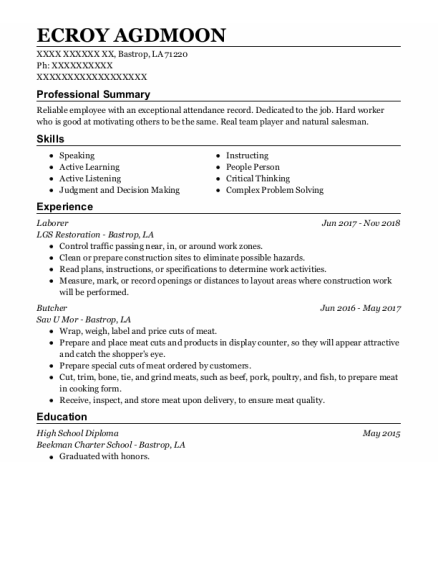 laborer resume sample Louisiana