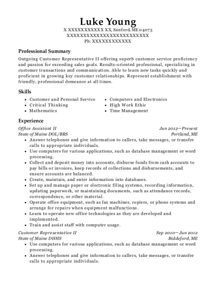 Office Assistant II resume template Maine