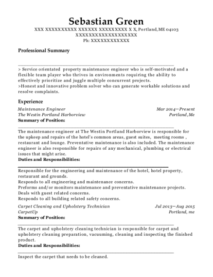 Maintenance Engineer resume format Maine