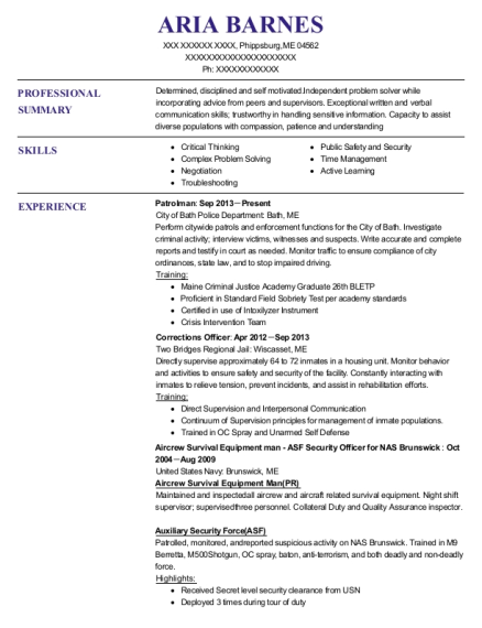 Patrolman resume sample Maine