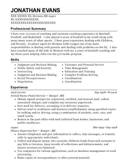 mail carrier resume sample Maine