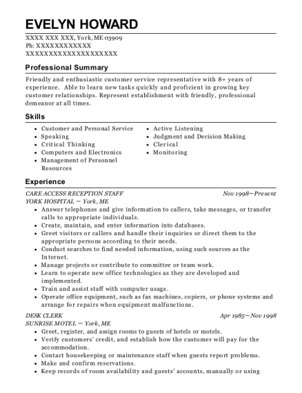 CARE ACCESS RECEPTION STAFF resume format Maine
