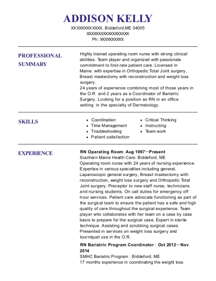 RN Operating Room resume template Maine