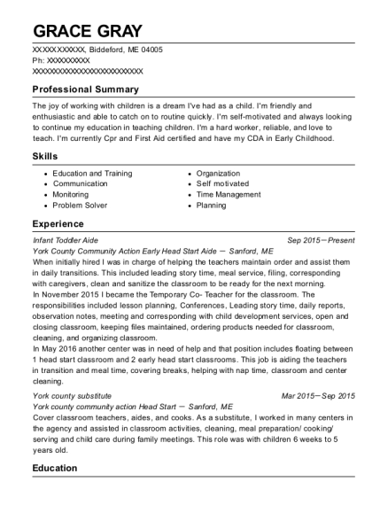 Infant Toddler Aide resume sample Maine