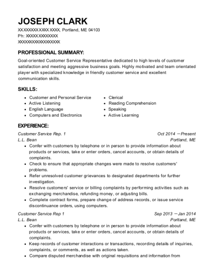 Customer Service Rep 1 resume sample Maine