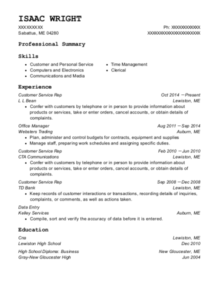 Customer Service Rep resume example Maine