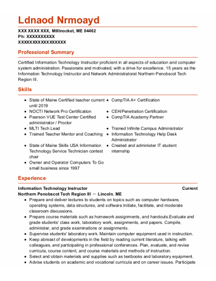 Network Administrator resume template Maine