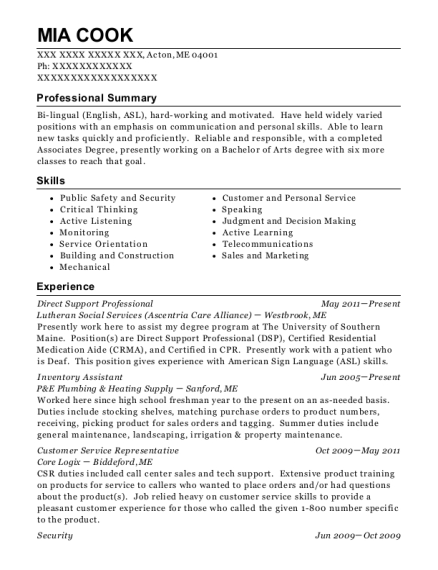 Direct Support Professional resume example Maine