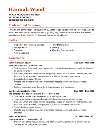 salon manager resume example Maine