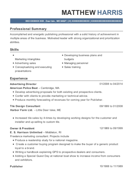 Advertising Director resume format Maine