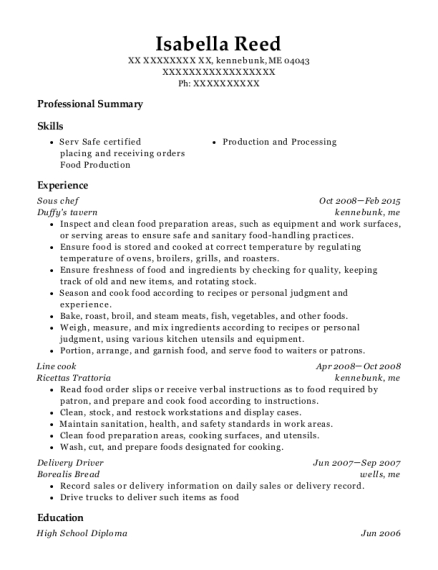 Sous Chef resume sample Maine