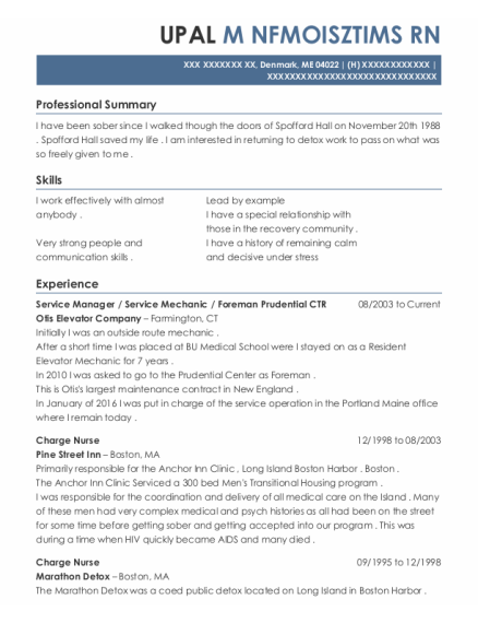 Service Manager resume sample Maine