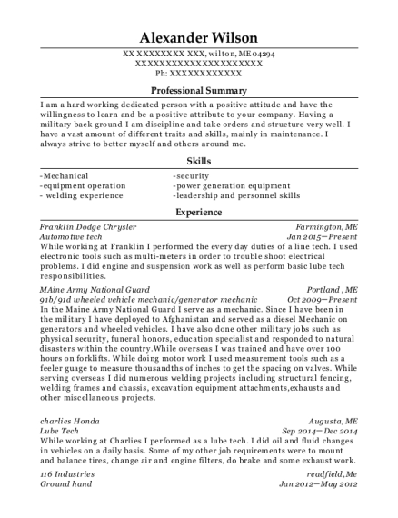 Automotive tech resume example Maine