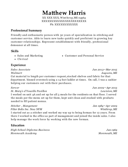 Sales Associate resume format Maine