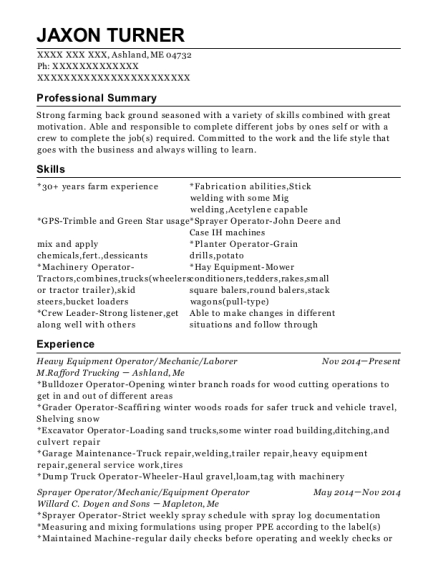 Heavy Equipment Operator resume template Maine