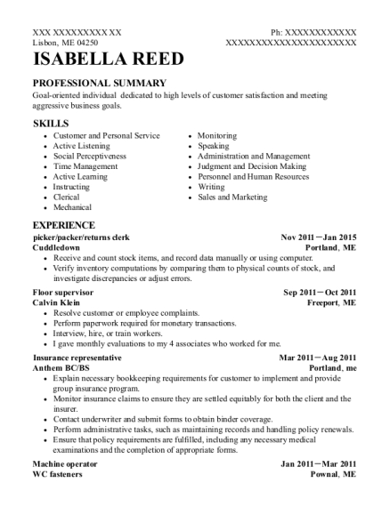 picker resume template Maine