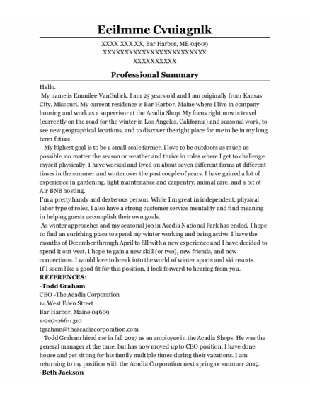 Retail Supervisor resume template Maine
