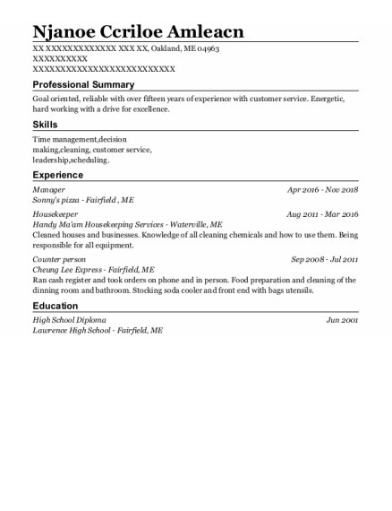 Manager resume format Maine