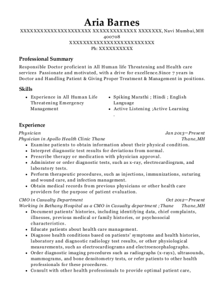 Physician resume example Marshall Islands