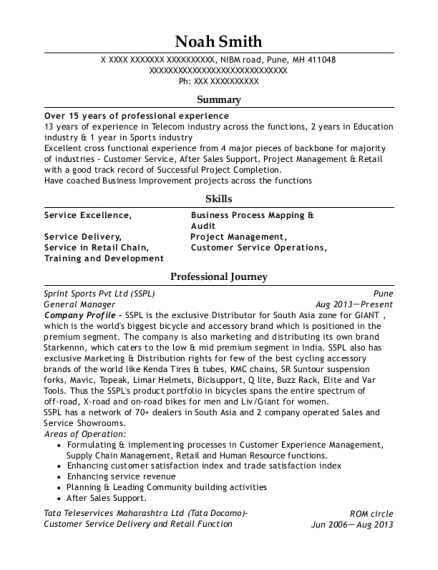 General Manager resume sample Marshall Islands