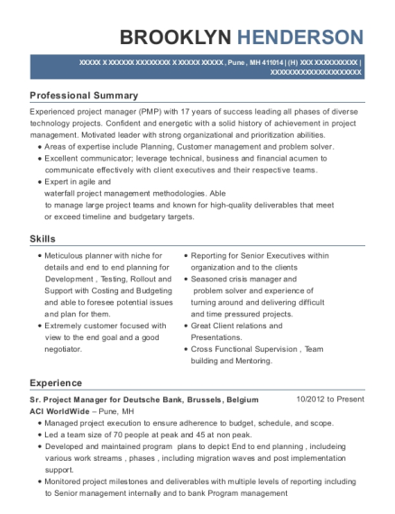 Sr Project Manager for Deutsche Bank resume example Marshall Islands