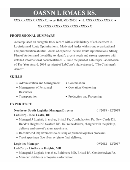 Vice President Of Operations resume sample Maryland