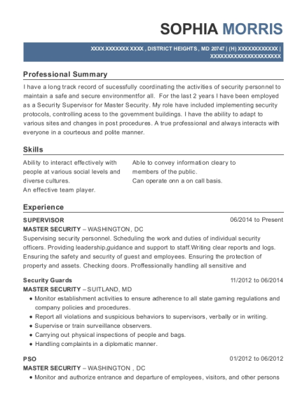 Supervisor resume template Maryland