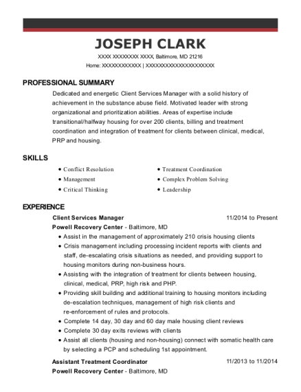 Client Services Manager resume format Maryland