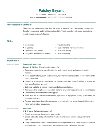 Foreman Electrician resume format Maryland