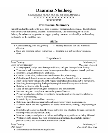 Guest Service Manager resume template Maryland