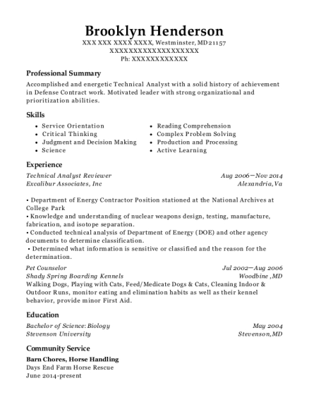 Technical Analyst Reviewer resume sample Maryland