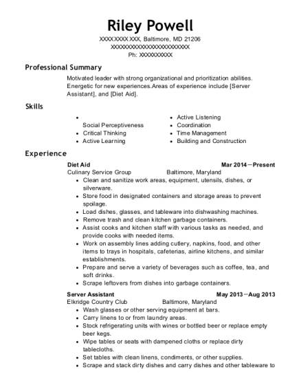 Diet Aid resume example Maryland