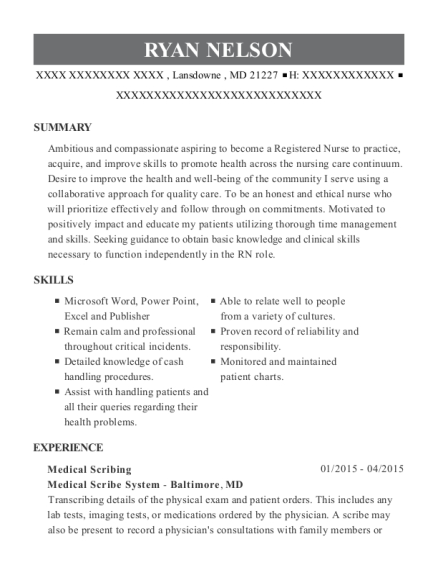 Medical Scribing resume template Maryland