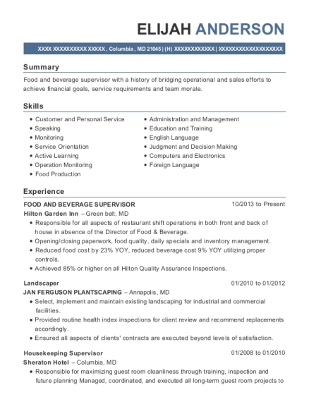FOOD AND BEVERAGE SUPERVISOR resume template Maryland