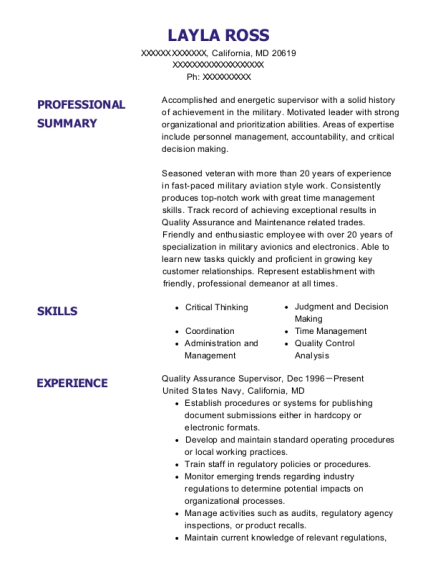 Quality Assurance Supervisor resume example Maryland