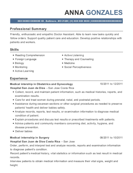 Medical intership in Obstetrics and Gynecology resume template Maryland