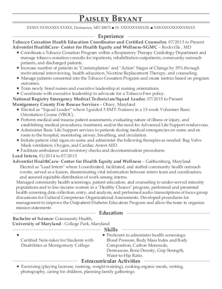 Tobacco Cessation Health Education Coordinator and Certified Counselor resume format Maryland