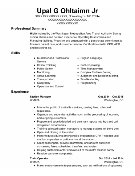 Station Manager resume template Maryland