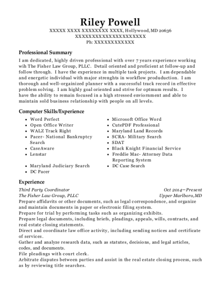 Third Party Coordinator resume example Maryland