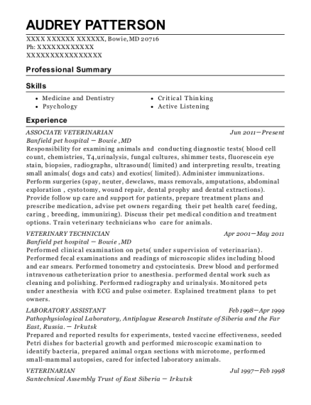ASSOCIATE VETERINARIAN resume format Maryland