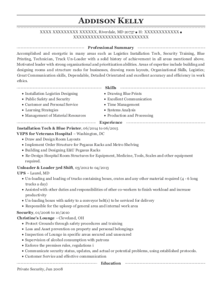 Installation Tech & Blue Printer resume example Maryland