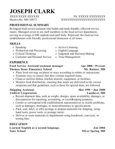 Food Service Assistant resume example Maryland