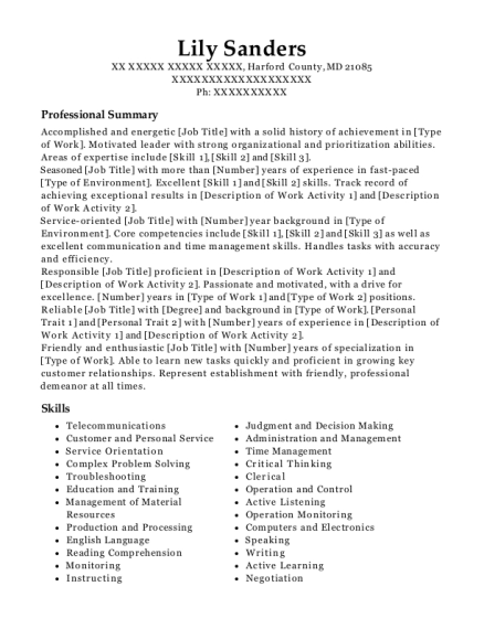 Warehouse Material Handler resume template Maryland