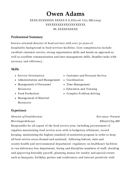 Director of Food Services resume example Maryland